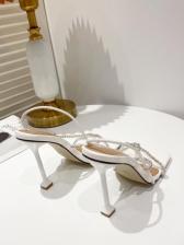 Square Neck Rhinestone Sandals For Women