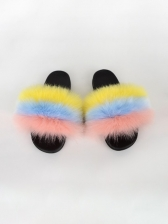 Contrast Color Faux Fur Women Slipper