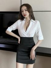 Deep V Neck Contrast Color OL Style Bodycon Dress
