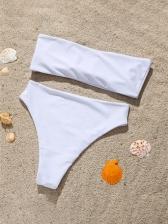 Butterfly Rhinestone Design Solid Bandeau Bikini Sets
