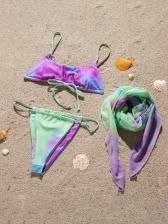 Contrast Color Three Pieces Tank Bikini Sets Ladies