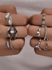 Bohemian Vintage Geometry Rhinestone Women Rings