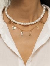 Fashion Faux-Pearl Simple Letter Pendant Necklace