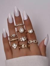 Fashion Rhinestone Drop Ring Sets