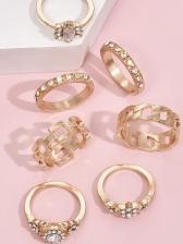 Personality Geometric Rhinestone Rings Set Women