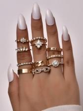 Alloy Material Rhinestone Rings Set