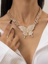 Vintage Butterfly Pendant Rhinestone Ladies Necklace