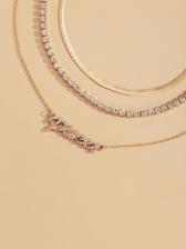 Vintage Simple Letter Pendant Layered Necklace