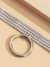 Casual Rhinestone Round Pendant Necklace