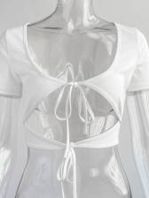 Sexy Lace Up White T Shirt