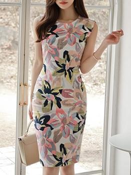 Fashion Flower Printed Sleeveless Bodycon Dress
