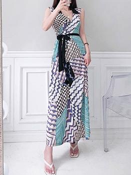 V Neck Tie-Wrap Sleeveless Maxi Dress
