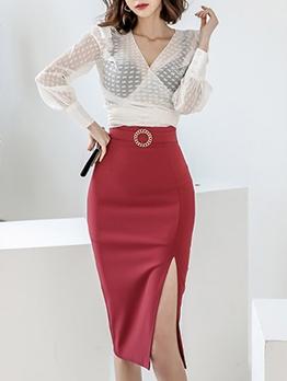 See Through Solid Slit 2 Piece Skirt Set
