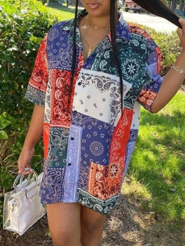 Euro Color Block Printed Short Sleeve Summer Dresses