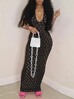 European Style Sexy Pierced Short Sleeve Gauze Dress