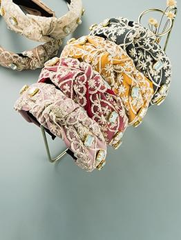EurAmerican Style Lace Cloth Rhinestone Hair Hoop