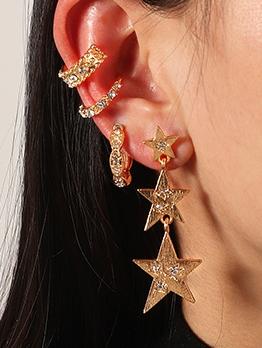 Simple Rhinestone Pentagram Earrings Set
