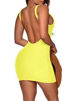 Open Back Solid Sleeveless Summer Dresses