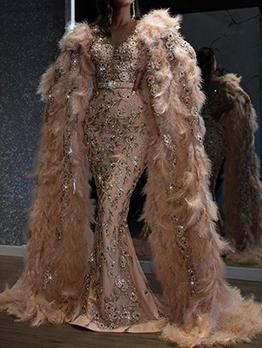 Chic Sequined V Neck Evening Dress