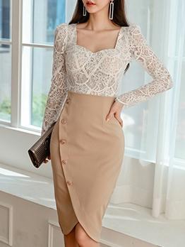 Spring OL Style Professional Skirt Sets For Women