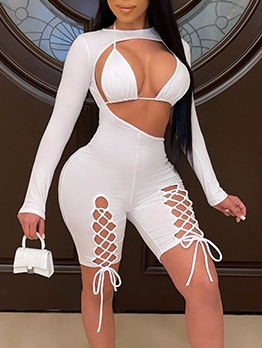 Night Club Solid Sexy 2 Piece Outfits