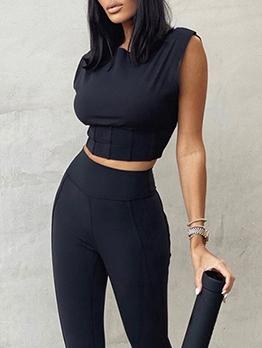 Summer Latest Sleeveless High Waist Trouser Sets