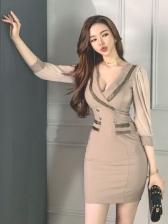 Elegant V Neck Long Sleeve Bodycon Dress