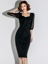 Gauze Patchwork Ruffled Dresses For Women