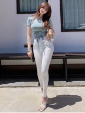 Dual Drawstring Solid Short Sleeve Tee Shirt
