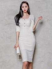 OL Style Solid Female Bodycon Dress