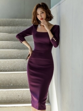 Chic Square Neck Long Sleeve Bodycon Dress