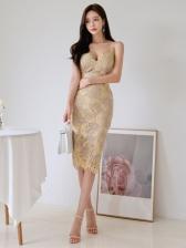 Graceful Camisole Slit Lace Sleeveless Dress