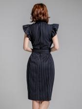 OL Style Striped Ruffled Ladies Dress