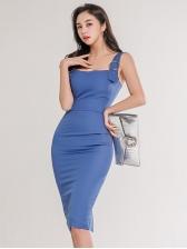 Elegant Pure Color Sleeveless Bodycon Dress
