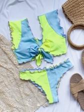 Contrast Color Bowknot Tank Bikini Sets Women