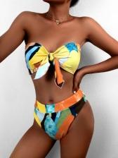 Contrast Color Printed Sexy Beach Bandeau Bikini Sets