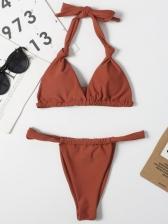 Pure Color Tie Wrap Halter Two Pieces Bikini Sets