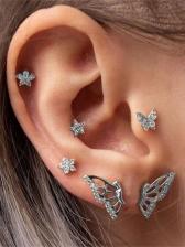 Sweet Rhinestone Butterfly Simple Stud Earrings Sets