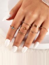 Simple Versatile Zircon Nine Pieces Ring Sets