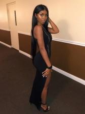 Sexy Black Zipper Sleeveless Maxi Dress