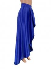 Elegant Solid Irregular Ruffle Maxi Skirt