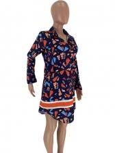 Colorful Print Long Sleeve Shirt Dress
