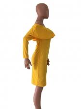 Sexy Off Shoulder Ruffle Long Sleeve Dress