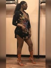 Sexy Print Long Sleeve Short Dress