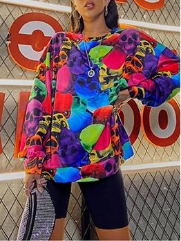 Street Loose Colorful Crew Neck Sweatshirt