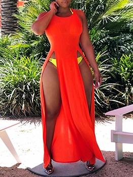 Solid Sexy Split Summer Sleeveless Maxi Dresses