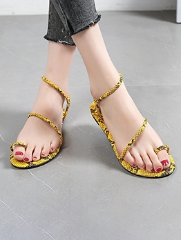 Snake Printed Round Toe Sandals For Women
