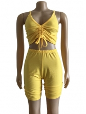 Deep V Neck Drawstring Solid Color Sexy Two Piece Set