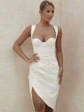 Sexy Irregular Hem Ruched Sleeveless Summer Dresses