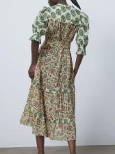 V Neck Tie-Wrap Long Sleeve Midi Dress